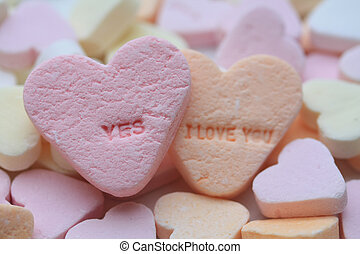 Yes, I love you valentine hearts - Valentine candy hearts in...