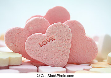 pink valentine candy hearts - pink candy hearts with the...