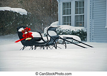 Winter Sleigh - A sleigh waiting out a winter storm