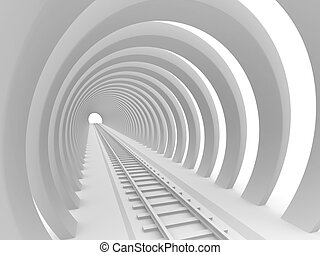 Railway tunnel - Abstract architectural background. 3d...
