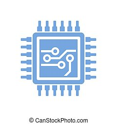 Flat Style CPU Icon. Vector