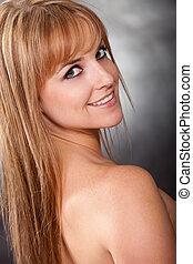 Pretty twenties caucasian blonde woman - Pretty caucasian...