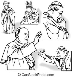 Pope Set - Outlined Illustrations, Vector