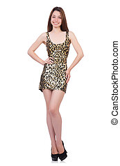 Beautiful woman in leopard dress isolated on white