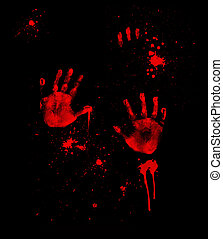 Bloody Handprints - Bloody handprints and blood spatter on...