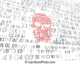 Concept of computer security. The skull of the hexadecimal...