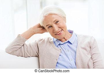 happy senior woman at home