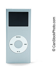 mp3 player - mini mp3 player - front view isolated on white