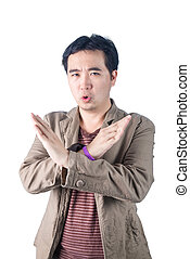 Asian Young man pumped up, making X sign shape with his arms...