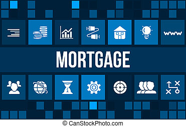 Mortgage concept image with business icons and copyspace