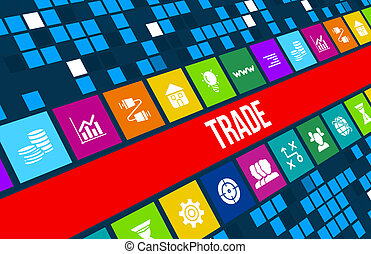 Trade concept image with business icons and copyspace.