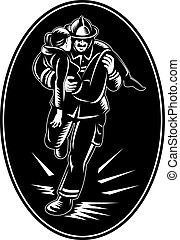 fireman firefighter rescuing a girl from fire - illustration...