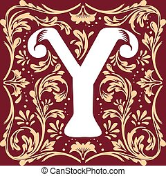 old vintage letter Y - letter Y vector image in the old...