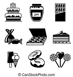 confection icons - set vector icons of confection and...