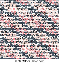 Seamless pattern with flowers on striped background