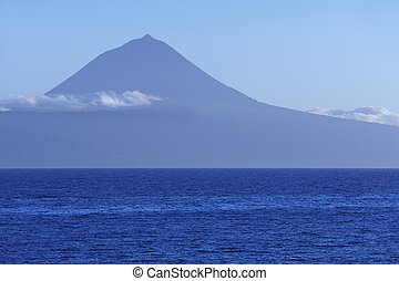Azores landscape with Pico mountain and atlantic ocean....