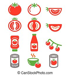 Red tomato, ketchup, tomato soup= - Vector food icons set...