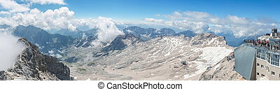 Zugspitze Panorama Germany - Panorama view of Alpine Alps...