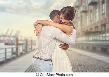 Happy young couple share a special moment - Happy romantic...