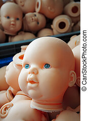 baby head - plastic baby head at the doll factory...