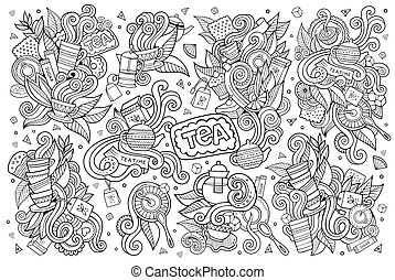 Tea time doodles hand drawn sketchy vector symbols and...
