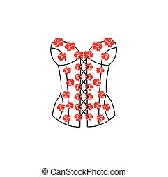 Corset of red flowers. Underwear clothes. Vector...