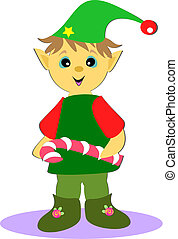 Christmas Elf with Peppermint Stick - Here is a cute...