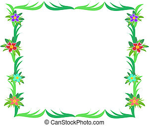 Frame of Green Leaves and Hibiscus Flowers