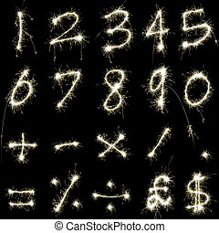 Sparking Numbers - numeric characters and symbols composed...