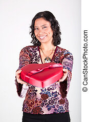 Offering A Valentines Day Gift - A Pacific Islander woman...