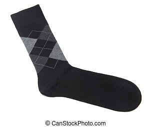 sock - black man sock isolated at white background