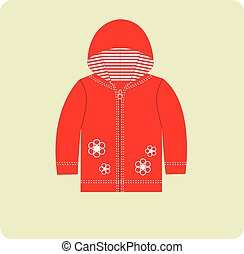 Cardigan - Baby flat cardigan. Sport red clothes for girl.