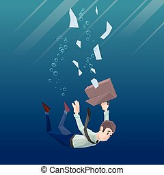 Man in office wear goes down under water - Polygon man in...