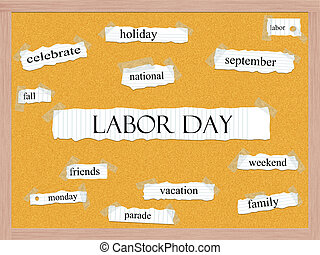 Labor Day Corkboard Word Concept with great terms such as...