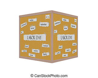 Labor Day 3D Corkboard Word Concept with great terms such as...