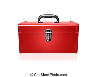 red toolbox - closed red toolbox isolated on white...
