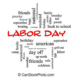 Labor Day Word Cloud Concept in red caps with great terms...
