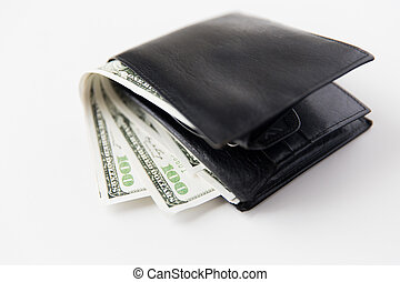 close up of dollar money in black leather wallet