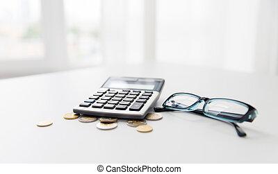 Vymyslit, brýle, deska, úřad, kalkulačka