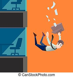 Man in office wear falls from a building - Polygon man in...