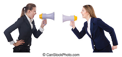 Business women with loudspeakers on white