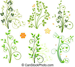 Abstract floral elements set