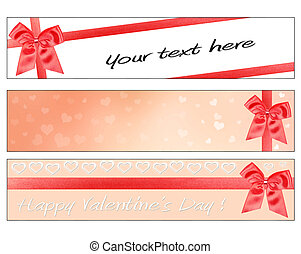 Valentines Day banners - 3 Valentines Day banners with red...
