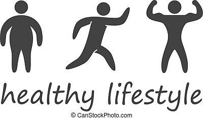 Silhouettes figures of healthy lifestyle