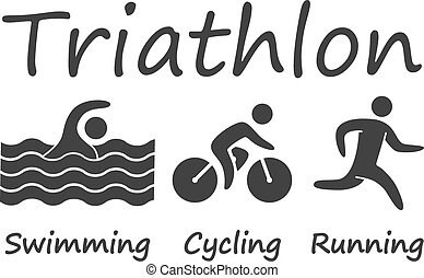 Silhouettes figures triathlon athletes. Swimming, cycling...
