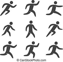 Silhouettes figures set of runners