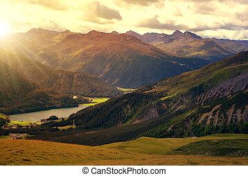 Views of the lake Davos at sunrise. Canton Graubunden,...