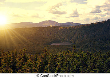 National park Sumava - Sunset over the National park Sumava...