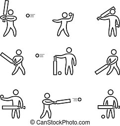Outline cricket icons set. Linear figure cricket player....