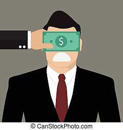 Businessman with dollar banknote taped to eyes. Bribery...